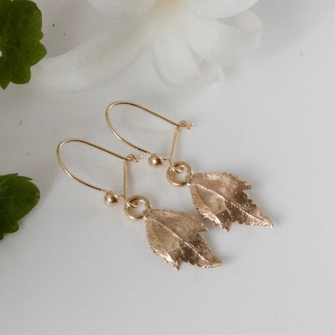 solid gold nature leaf earrings