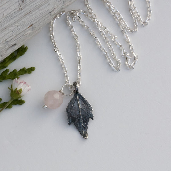 Personalised Leaf Necklace-Oxidised Silver Leaf Necklace-Monogram Pendant