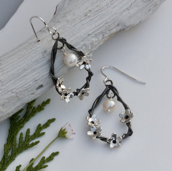 silver and pearl cherry blossom earrings