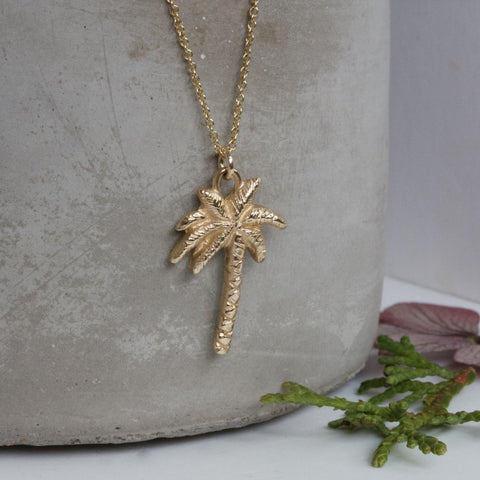 handmade solid gold palm tree
