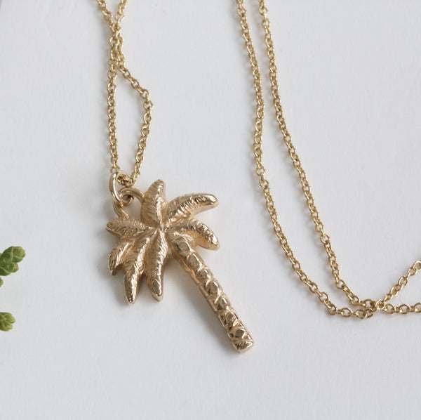 9ct gold palm tree necklace