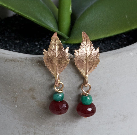 Autumn Leaf Earrings, Solid 9ct Rose Gold and Emerald Earrings