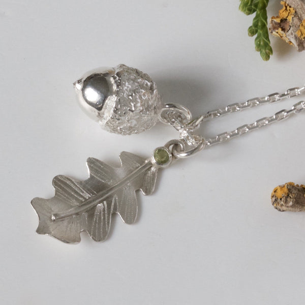 Oak Leaf and Acorn Silver Nature Necklace