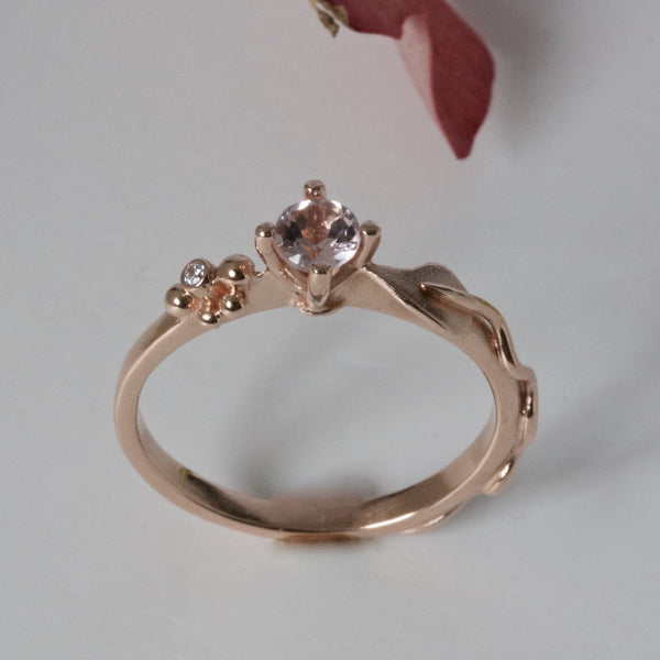 red gold and morganite leaf ring