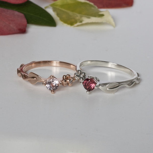 leaf and berry nature inspired rings