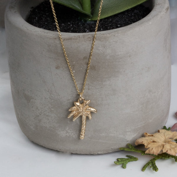 Solid 9ct Gold Palm Tree Necklace, Gold Palm Tree Pendant on a chain