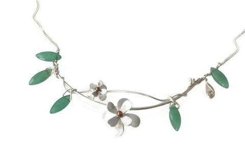 Summertime Flower and Aventurine Necklace-handmade silver and green floral necklace