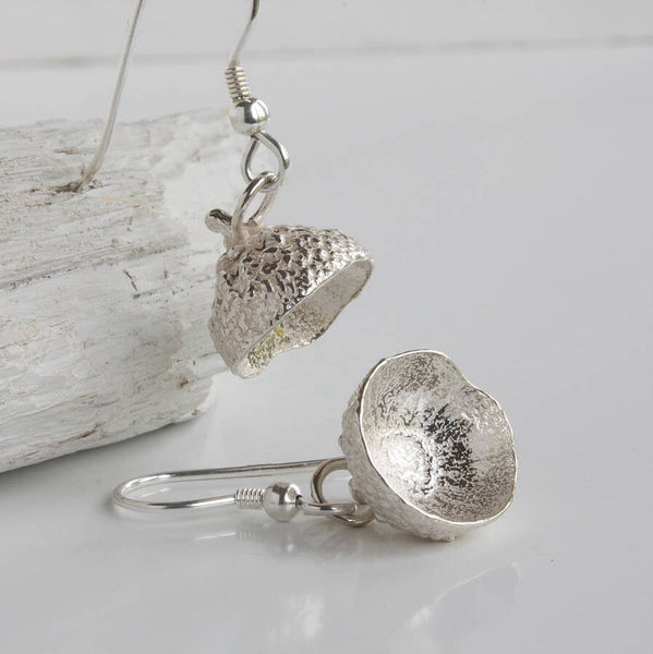 Silver Acorn Cup Earrings, Woodland Earrings