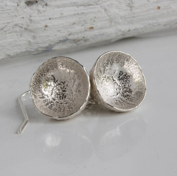 Silver Acorn Cup Earrings-acorn cups-woodland earrings-nature jewellery