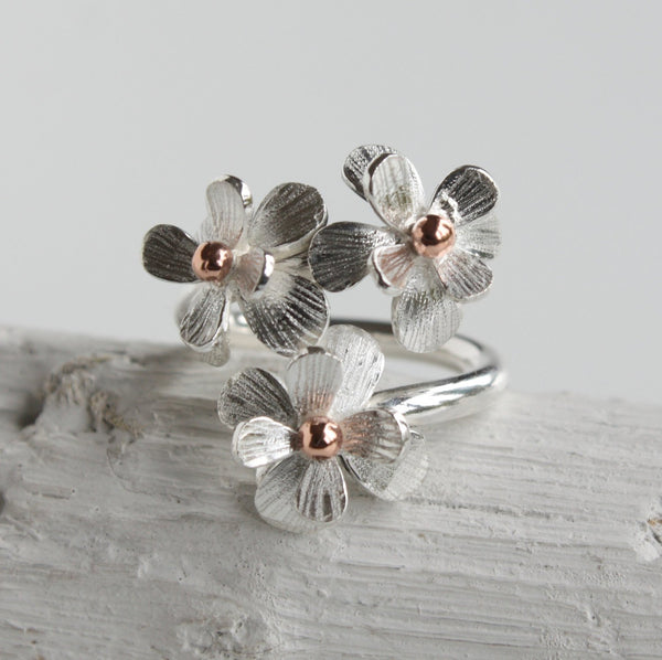 Handmade Adjustable Silver and Rose Gold Daisy Flower Ring-Floral-Botanical Ring