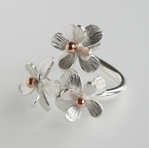 Handmade Adjustable Silver and Rose Gold Daisy Flower Ring-Flower Ring-Floral Ring-Daisy Ring-Botanical Ring