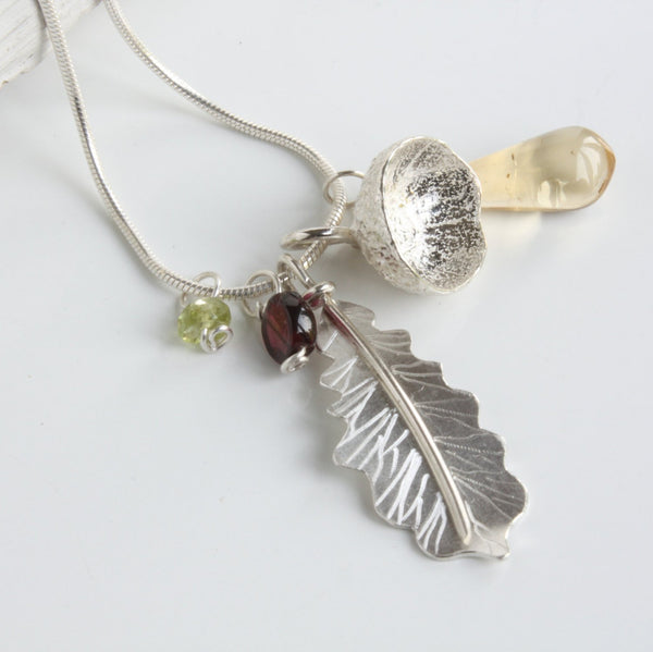 Woodland Oak Leaf and Acorn Cup Cluster Necklace-Garnet-Peridot-Citrine-Handmade Nature Jewellery