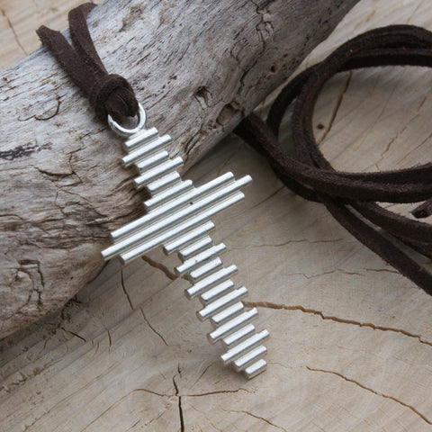 Large Silver Cross Necklace- Crucifix-Crucifix Necklace-statement necklace