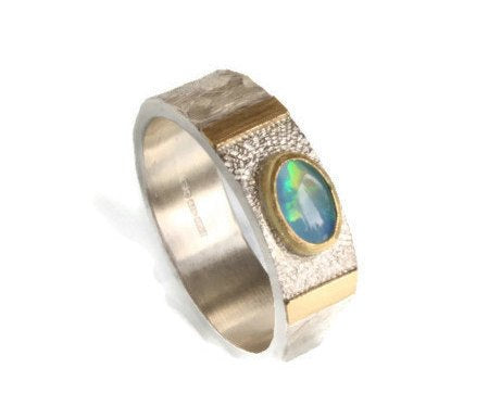 Opal Ring-October Birthstone-Silver and 18k Gold Ring-Unique Ring-unisex ring-Opal Wedding Band