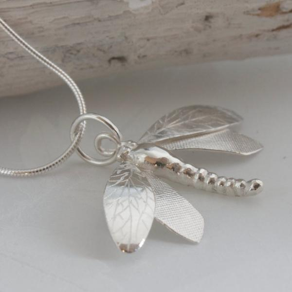 Handmade Silver Dragonfly Necklace-dragonfly pendant-large dragonfly necklace