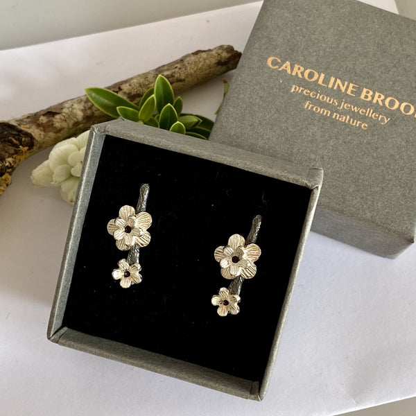 Silver Cherry Blossom Earrings-silver cherry blossom Studs-flower earrings-flower studs