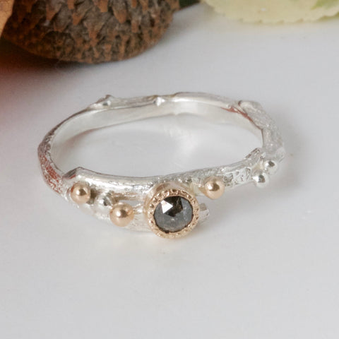 Organic Salt and Pepper Diamond Engagement Ring-Rustic Woodland Ring
