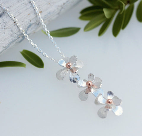 Silver and Rose Gold Daisy Chain Necklace