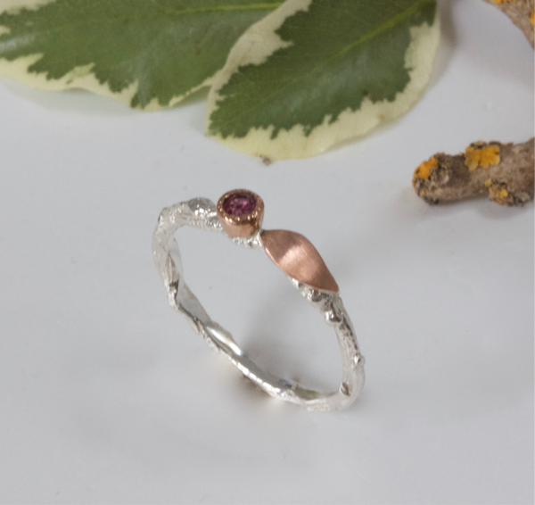 Silver and Rose Gold Ruby Ring