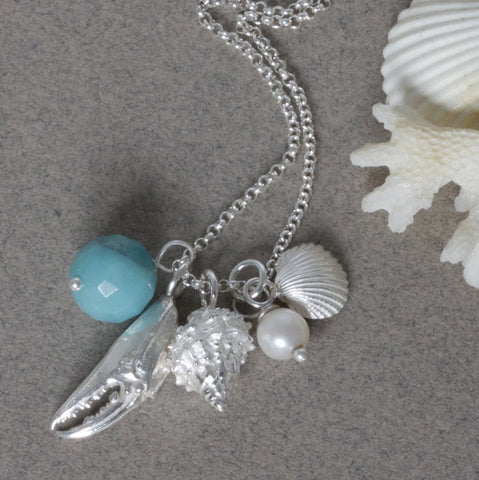silver shell cluster necklace