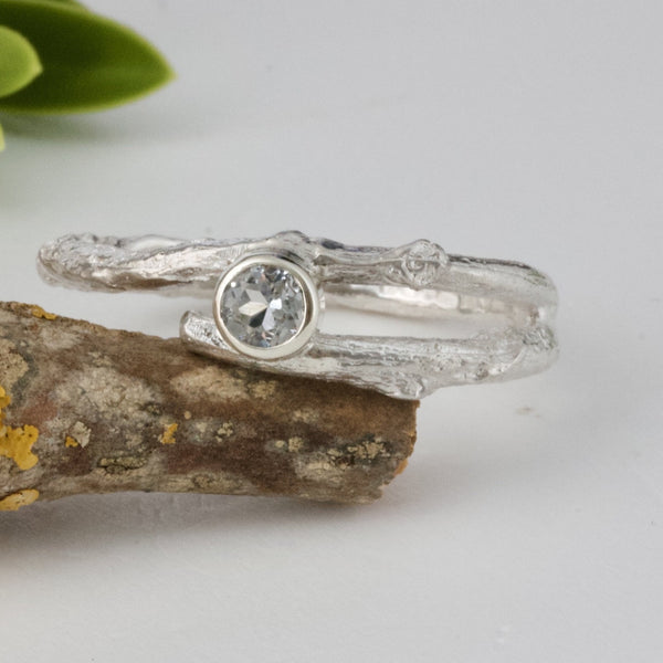 9ct white gold twig engagement ring