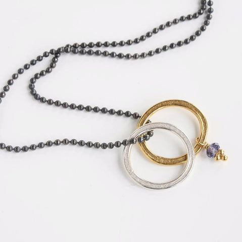 Gold Vermeil Hoop Necklace on Oxidised Chain