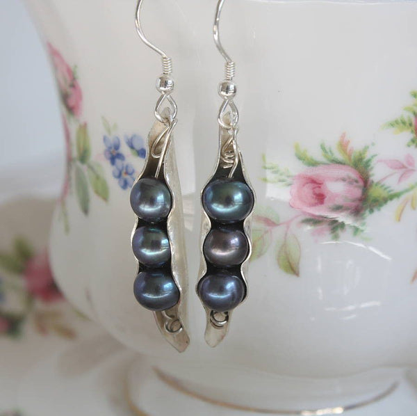 Silver Pearl Pod Earrings