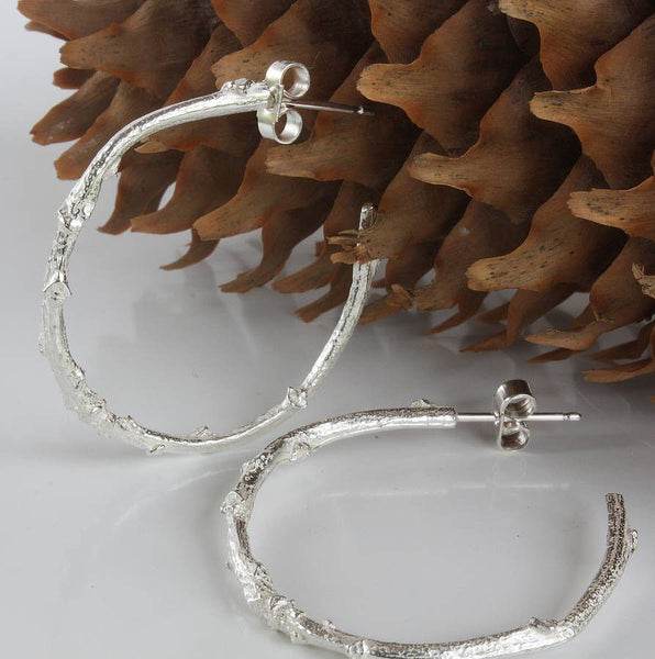 Silver Hoop Twig Earrings