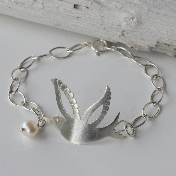 Silver Hummingbird Bracelet with Pearl