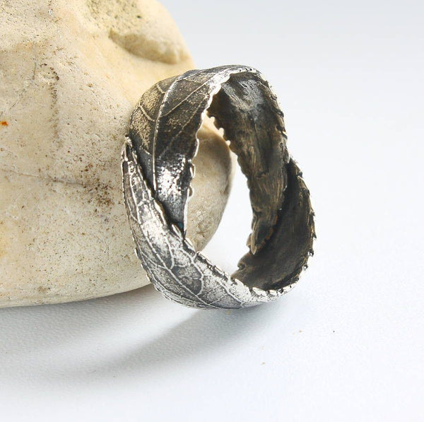 Woodland Unisex Silver Leaf Ring