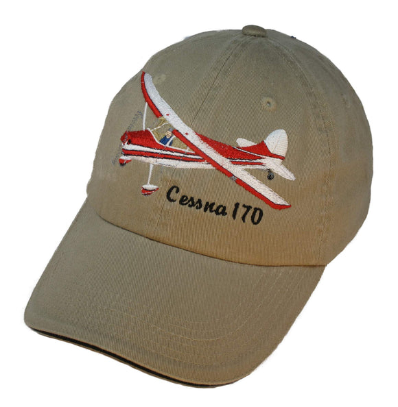 Cessna170 on a Khaki/Black Cap