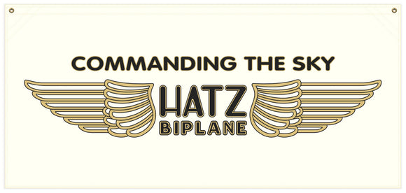 54 in. x 25 in. Hatz Airplane - Cotton Banner