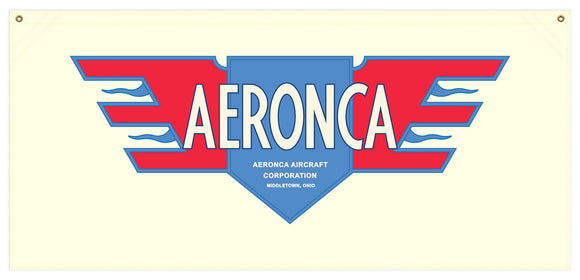 54 in. x 25 in. Aeronca Red White and Blue Logo - Cotton Banner