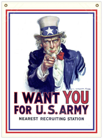 22 in. x 30 in. I Want You - WWI Recruiting - Cotton Banner
