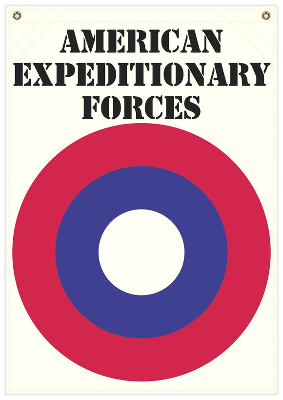 22 in. x 31 in. American Ex. Forces - Cockade - Cotton Banner