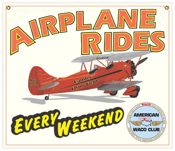 28 in. x 24 in. American WACO Club - Airplane Rides - Cotton Banner