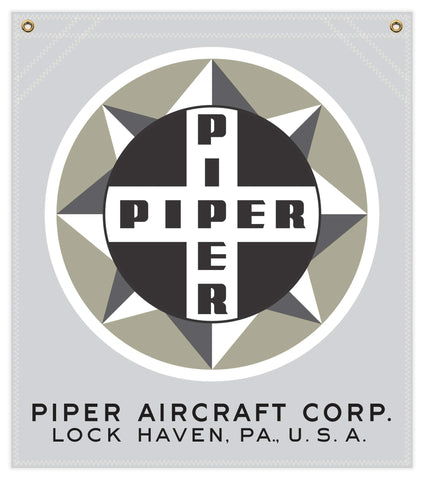 22 in. x 25 in. Piper Compass Logo - Cotton Banner - Colors: Silver with Multi-Color Logo
