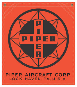 22 in. x 25 in. Piper Compass Logo - Cotton Banner - Colors: Red with Black Logo