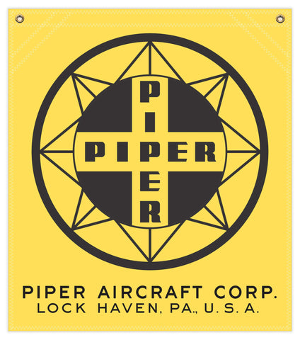 22 in. x 25 in. Piper Compass Logo - Cotton Banner - Colors: Yellow with Black Logo