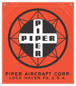 22 in. x 25 in. Piper Compass Logo - Cotton Banner - Colors: Red with Black and White Logo