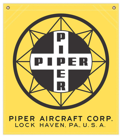 22 in. x 25 in. Piper Compass Logo - Cotton Banner - Colors: Yellow with Black and White Logo