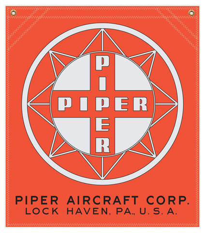 22 in. x 25 in. Piper Compass Logo - Cotton Banner - Colors: Red with Silver and Black Logo