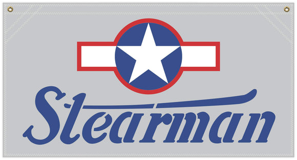 36 in. x 19 in. Stearman Stencil with Star and bar Insignia - Cotton Banner