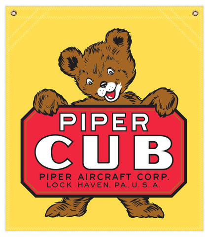 22 in. x 25 in. Piper Cub - Cotton Banner - Colors: Yellow with Multi-Color Logo