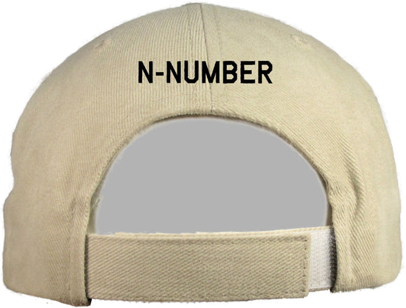 Have an N-Number Embroidered on the back of a cap.