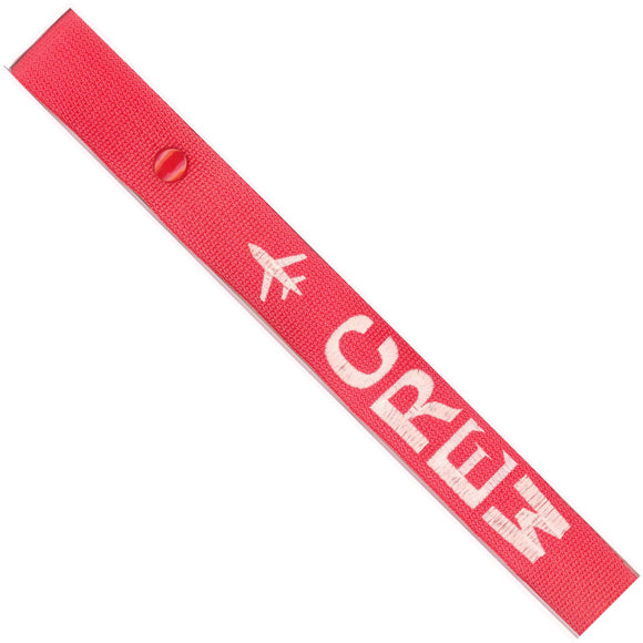 Crew - Airplane in White on Red Bag Tag