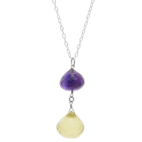 Amethyst, Lemon Quartz Gemstone Necklace | Multi Color Colorful Pendant