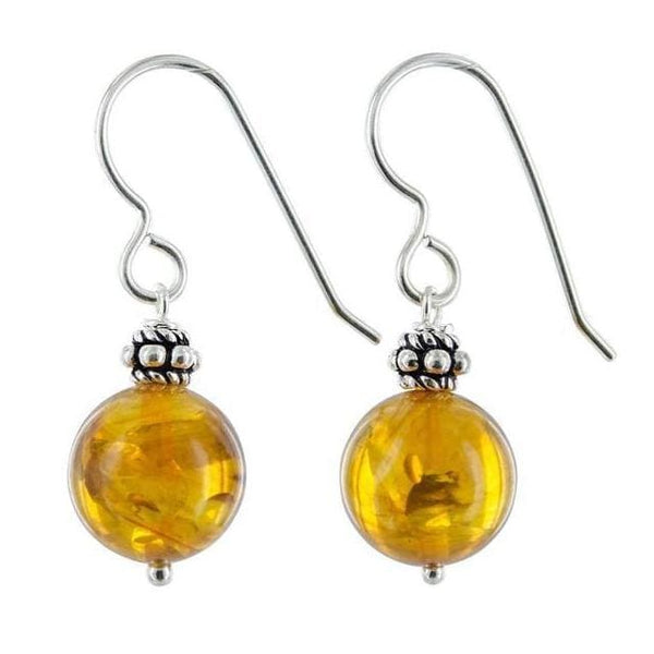 Amber Earrings | Sterling Silver Yellow Earrings - Earrings