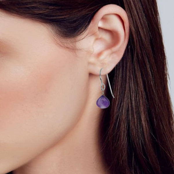 Amethyst Dangle Dainty Earrings with Polished Amethyst Gemstones - Earrings