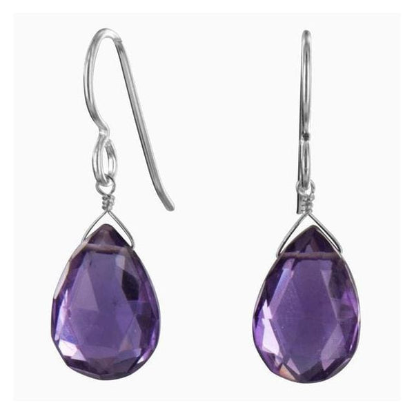 Amethyst Dangle Earrings with Purple Gemstones | February Birthstone - Earrings